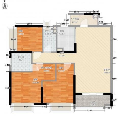 金阳新世界花园3室1厅2卫1厨86.33㎡户型图