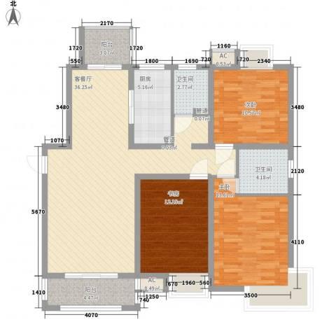 惠南一方新城3室1厅2卫1厨135.00㎡户型图