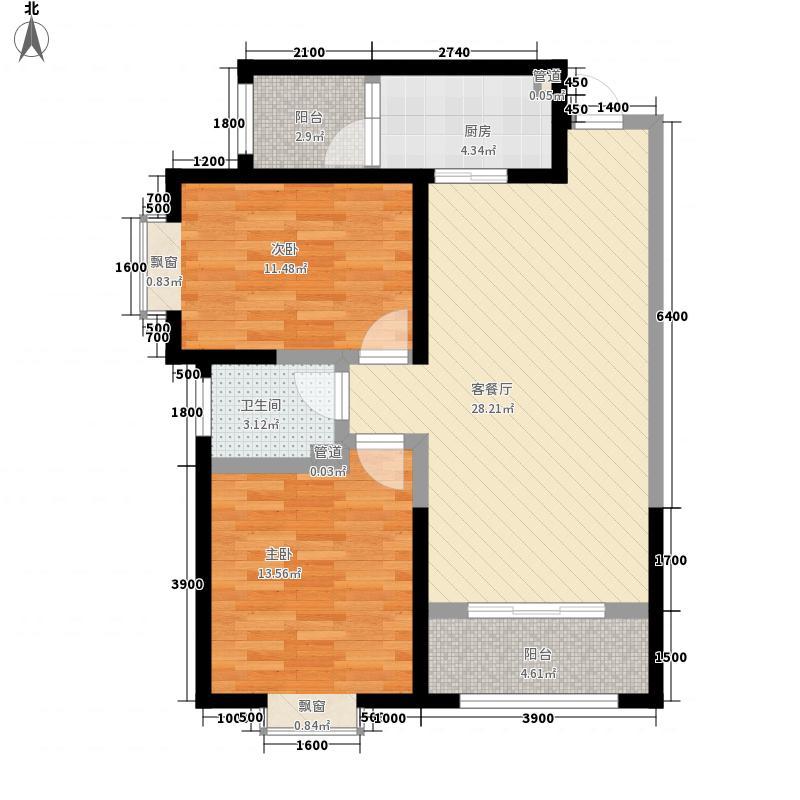 铁路西村馨苑小区F户型:两房两厅一卫,98.73平米_调整大小户型2室