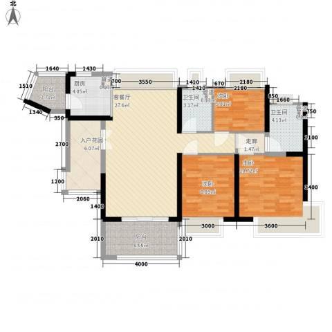 金阳新世界花园3室1厅2卫1厨81.68㎡户型图