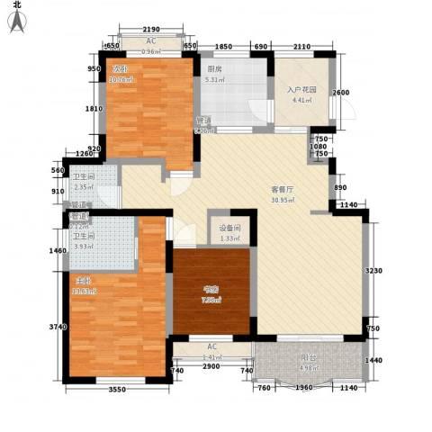 欧洲豪庭3室1厅2卫1厨128.00㎡户型图