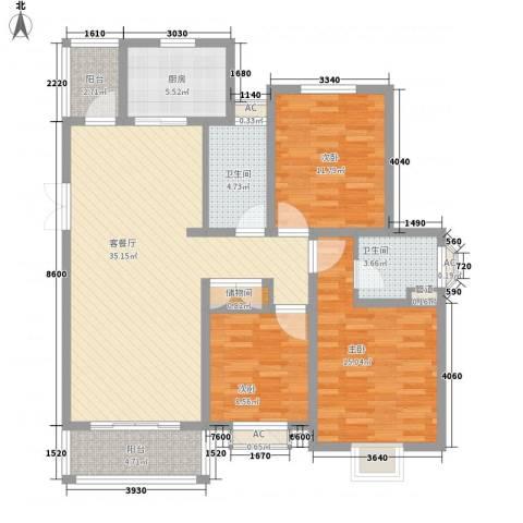 爱法山水国际3室1厅2卫1厨137.00㎡户型图