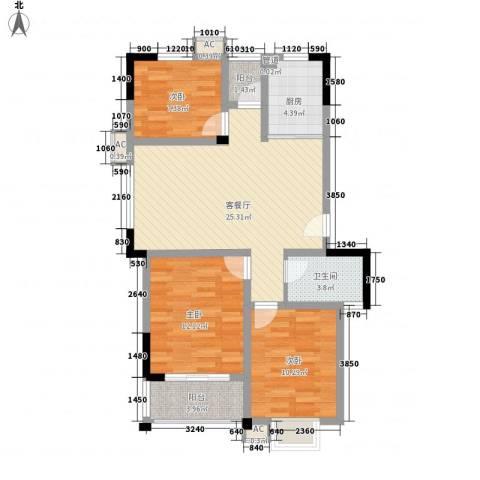 新城玉龙湾3室1厅1卫1厨102.00㎡户型图