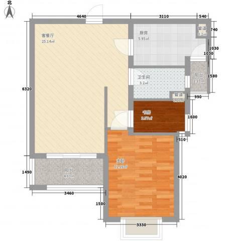 万里晶品苑2室1厅1卫1厨66.00㎡户型图