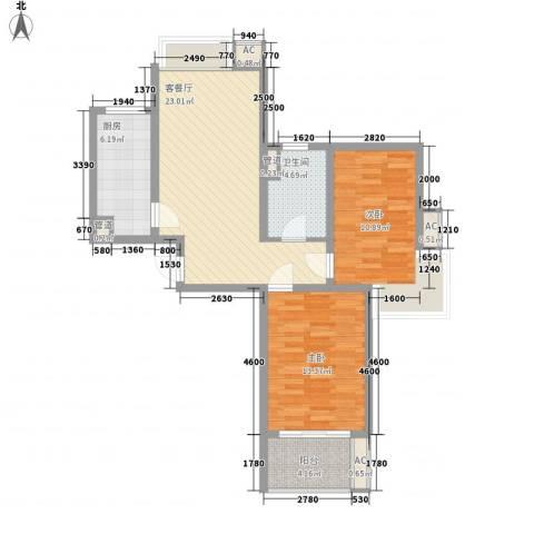 万里晶品苑2室1厅1卫1厨93.00㎡户型图