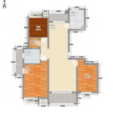 天山怡景苑3室1厅1卫1厨130.00㎡户型图
