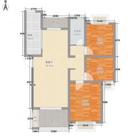 国基桂花小镇3室1厅1卫1厨123.00㎡户型图