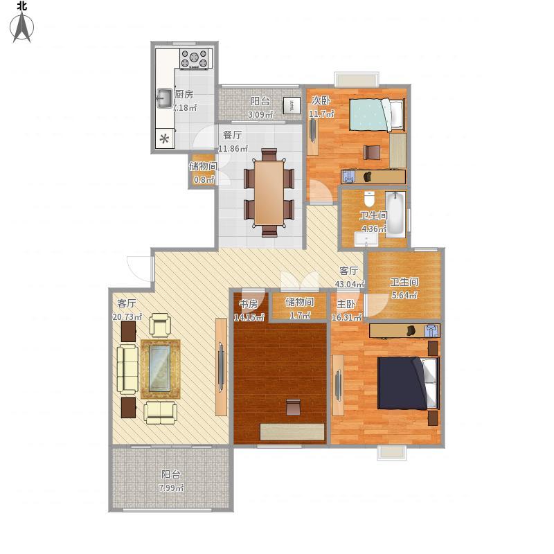 上海-金色贝拉维-150平3房-设计方案