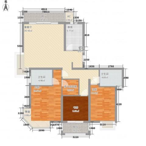 天山怡景苑3室1厅2卫1厨148.00㎡户型图