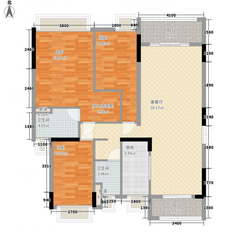 金阳新世界花园131.72㎡B栋B3花园平墅户型3室2厅2卫1厨