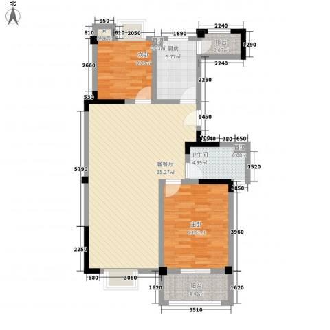 星盛家园2室1厅1卫1厨108.00㎡户型图