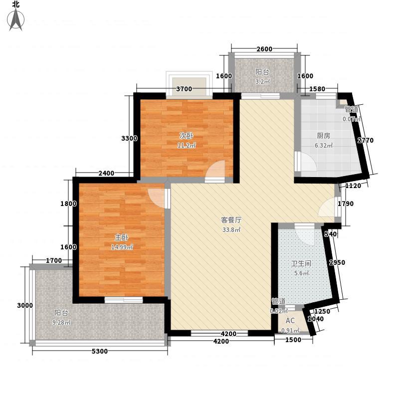 蓝馨花园G-2标准层之A户型2室2厅1卫1厨