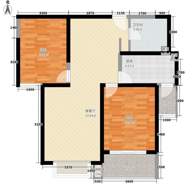 蓝馨花园G-3标准层之B户型2室2厅1卫
