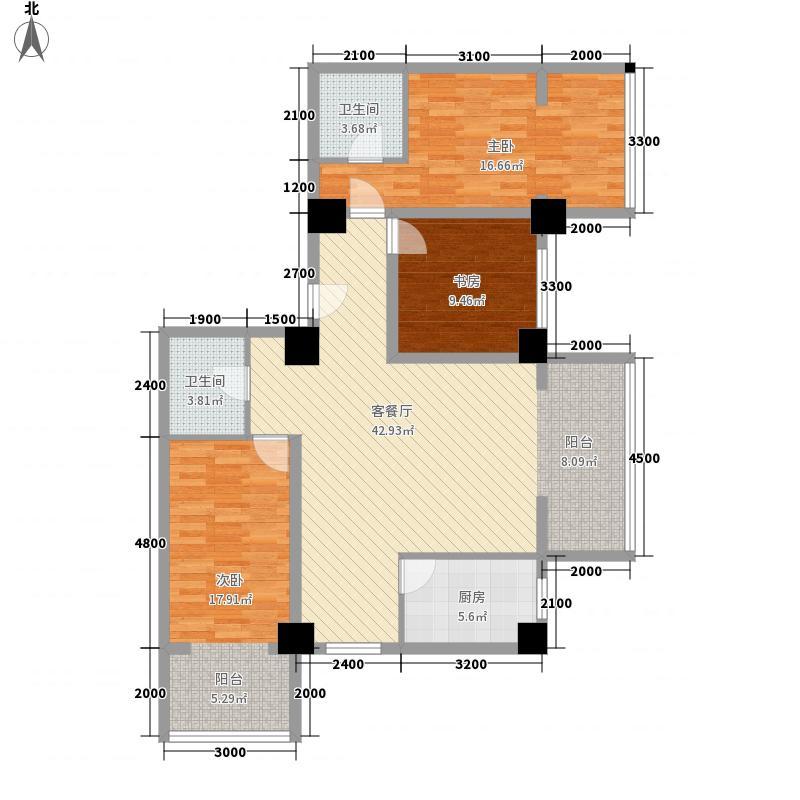 陇华大厦155.65㎡D户型3室2厅2卫1厨