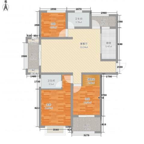 国基桂花小镇3室1厅2卫1厨133.00㎡户型图