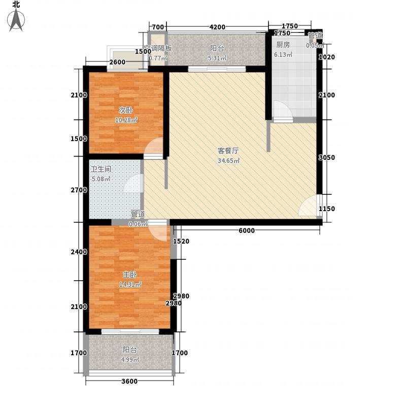 蓝馨花园G-3标准层之A户型2室2厅1卫1厨