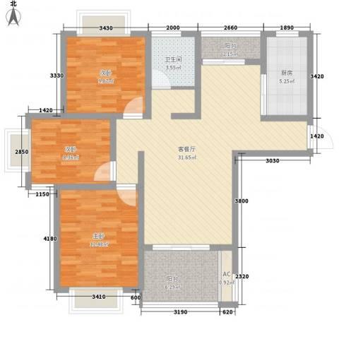 国基桂花小镇3室1厅1卫1厨119.00㎡户型图