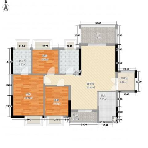 金阳新世界花园3室1厅2卫1厨84.45㎡户型图