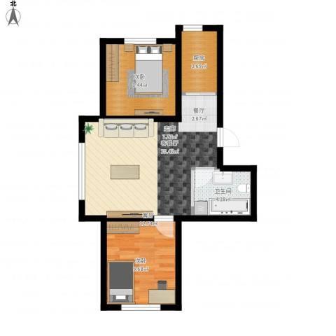 意大利风情小镇2室1厅1卫1厨67.00㎡户型图