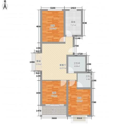 升达置地广场3室1厅2卫1厨77.81㎡户型图