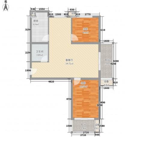 升达置地广场2室1厅1卫1厨78.20㎡户型图