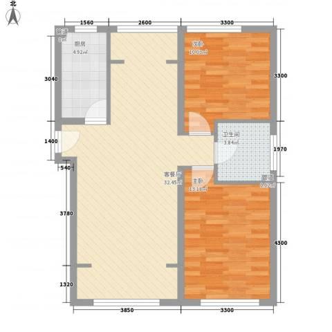 望京花园东区2室1厅1卫1厨72.68㎡户型图
