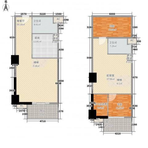 通商华富国际广场2室1厅2卫1厨180.09㎡户型图