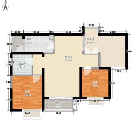 滨湖世纪城春融苑2室1厅1卫1厨88.00㎡户型图