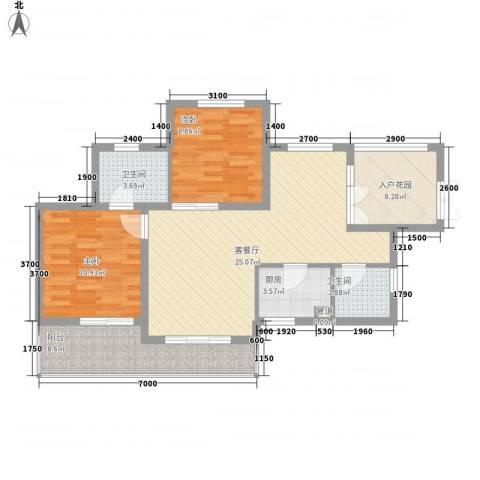 滨湖世纪城春融苑2室1厅2卫1厨90.00㎡户型图