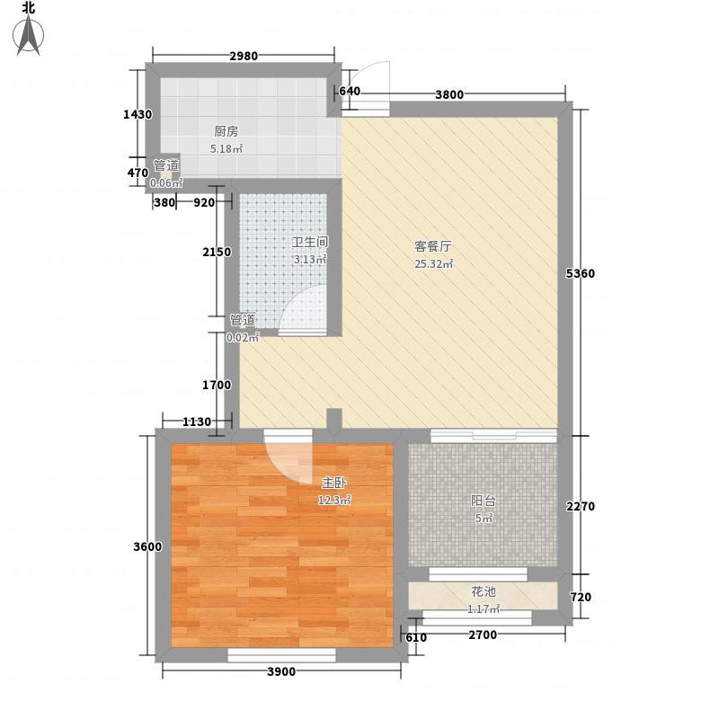 新湖香格里拉6.00㎡三期高层标准层B户型1室2厅1卫1厨