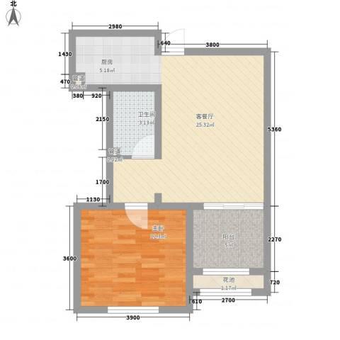 新湖香格里拉1室1厅1卫0厨46.98㎡户型图