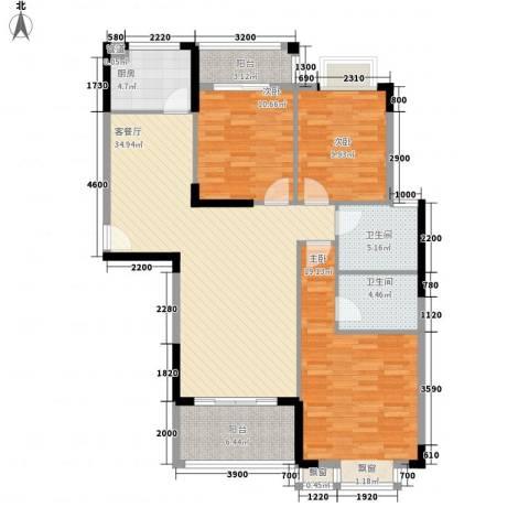 逸静园3室1厅2卫1厨140.00㎡户型图
