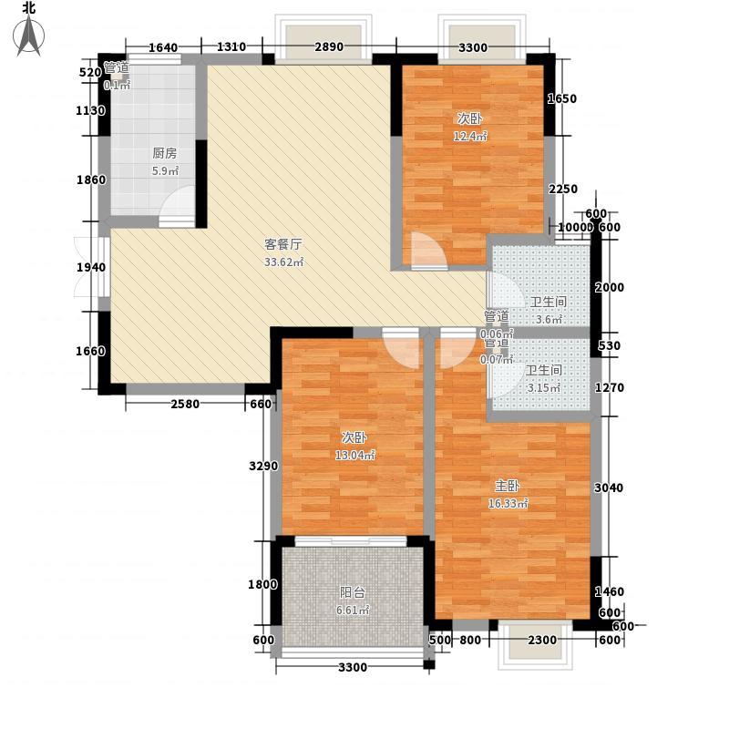 江雁依山郡120.00㎡二期14、15号楼标准层D2户型3室2厅2卫1厨