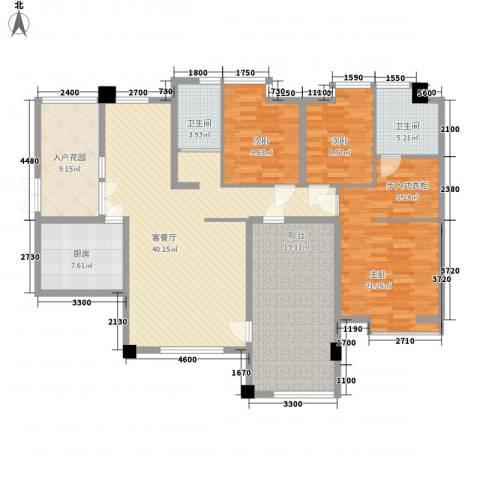 富中蝴蝶谷3室1厅2卫1厨147.00㎡户型图