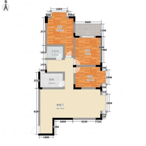黄金时代3室1厅1卫1厨123.00㎡户型图