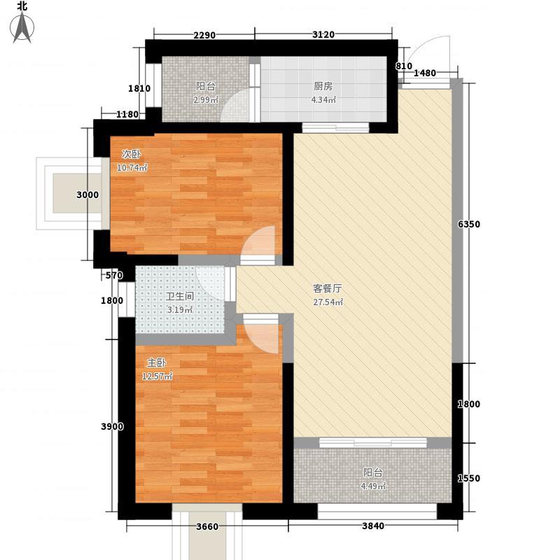 兰州军区颜家沟物业小区F户型:两房两厅一卫,98.73平米户型2室2厅1卫1厨
