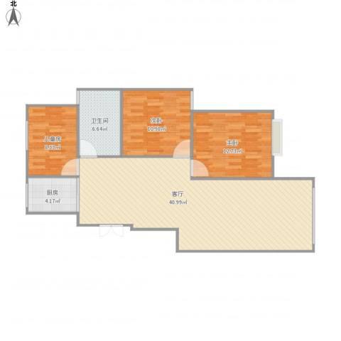 观湖壹号3室1厅1卫1厨112.00㎡户型图