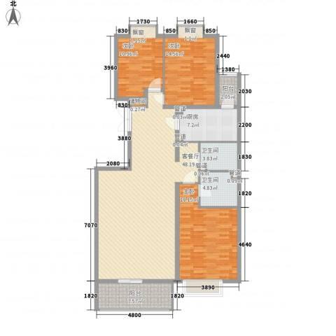 银谷美泉家园3室1厅2卫1厨165.00㎡户型图