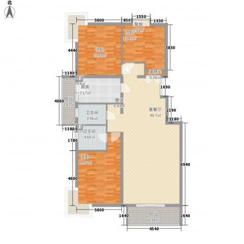 银谷美泉家园3室1厅2卫1厨170.00㎡户型图
