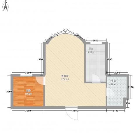 望京花园东区1室1厅1卫1厨52.00㎡户型图