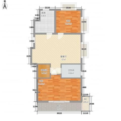 协合紫薇园2室1厅1卫1厨110.00㎡户型图