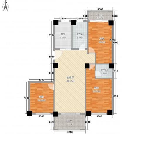 都市・心海岸3室1厅2卫1厨154.00㎡户型图