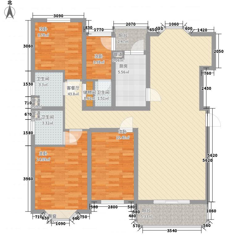贵龙园户型3室2厅2卫1厨