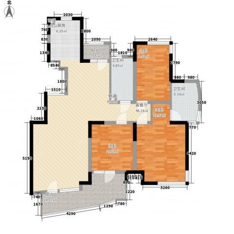 蝶庄3室1厅2卫0厨136.00㎡户型图