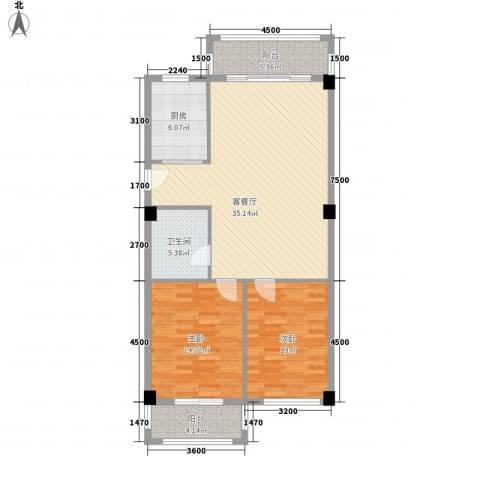 都市・心海岸2室1厅1卫1厨117.00㎡户型图