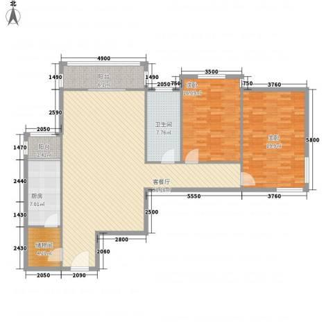 望京花园东区2室1厅1卫1厨124.79㎡户型图