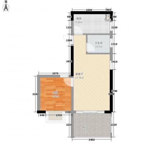 珍珠湾・风情小镇1室1厅1卫1厨59.00㎡户型图