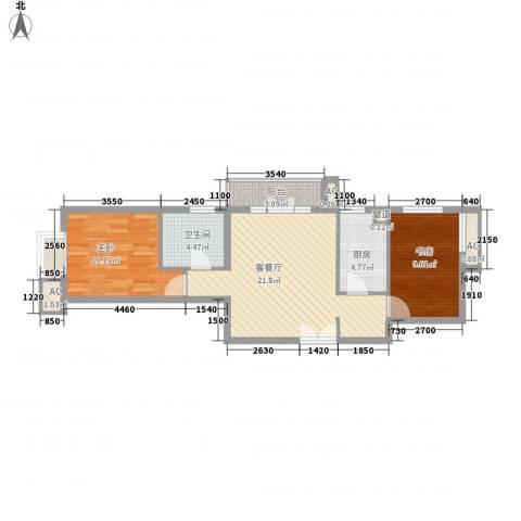 上京新航线2室1厅1卫1厨80.00㎡户型图