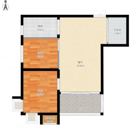 华府丹郡2室1厅1卫1厨74.00㎡户型图