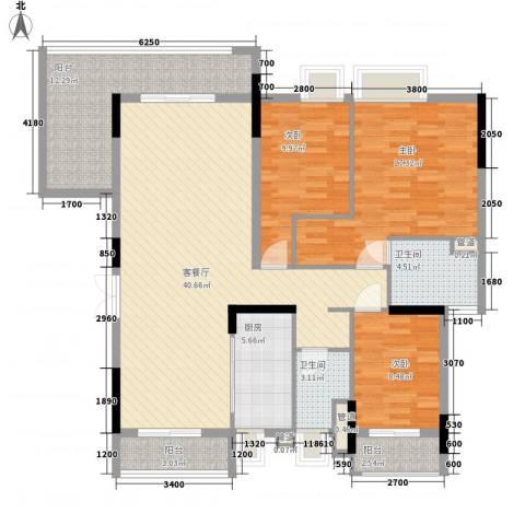 金阳新世界花园3室1厅2卫1厨108.32㎡户型图